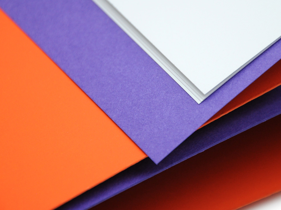 Contrasting coloured paper stock textures