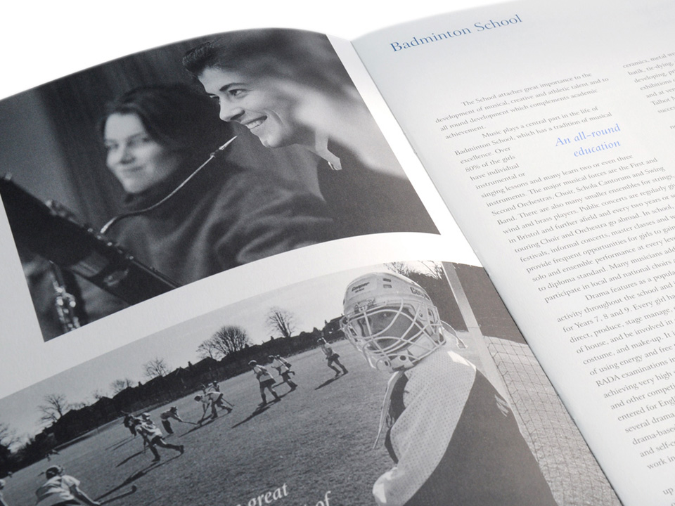 Badminton School prospectus, design and print