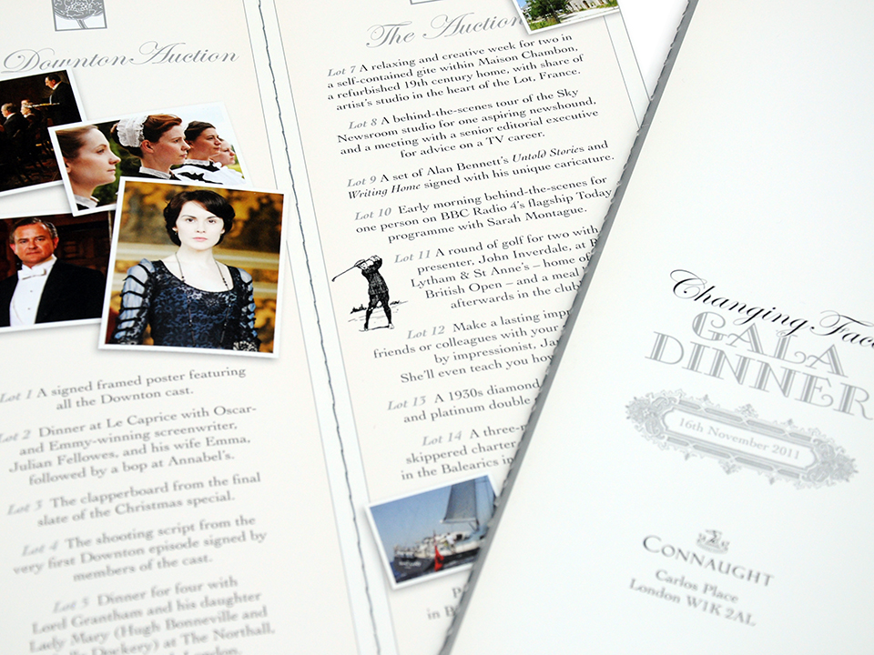 Design for Downton Abbey themed Gala Dinner for leading facial disfigurement charity