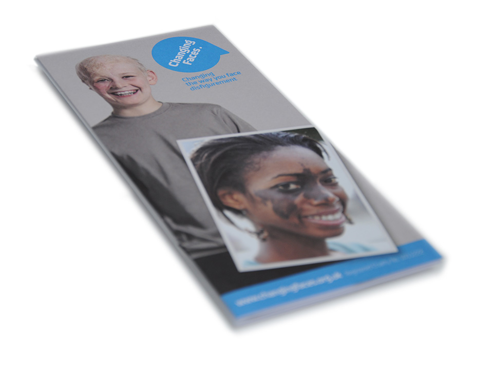 leaflet creation and design for disfigurement charity