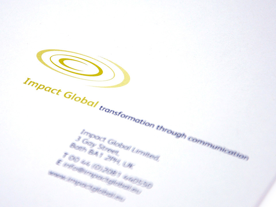 logotype and stationery design for Impact Global