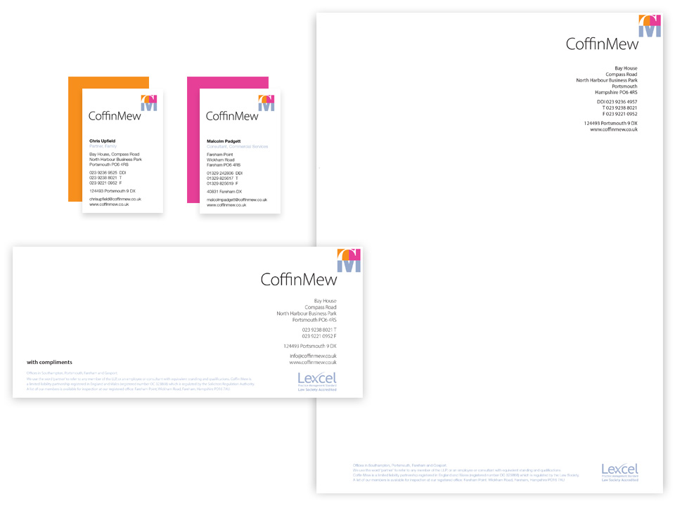 Letterhead, comps and business cards, stationery design for the legal profession