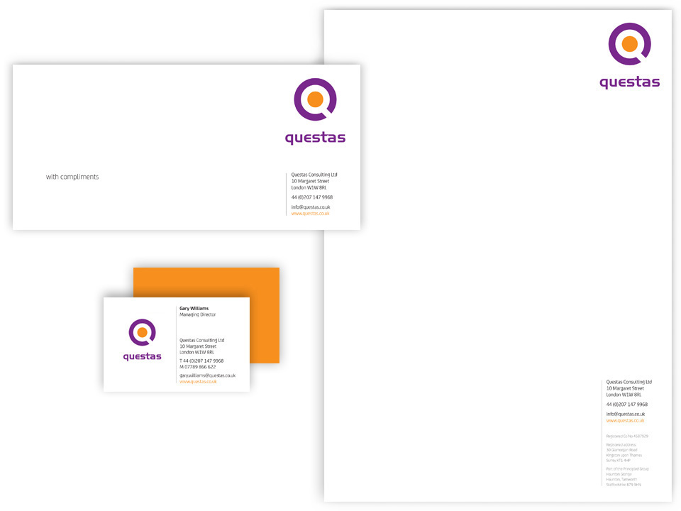 Questas logotype design and stationery, targeted marketing
