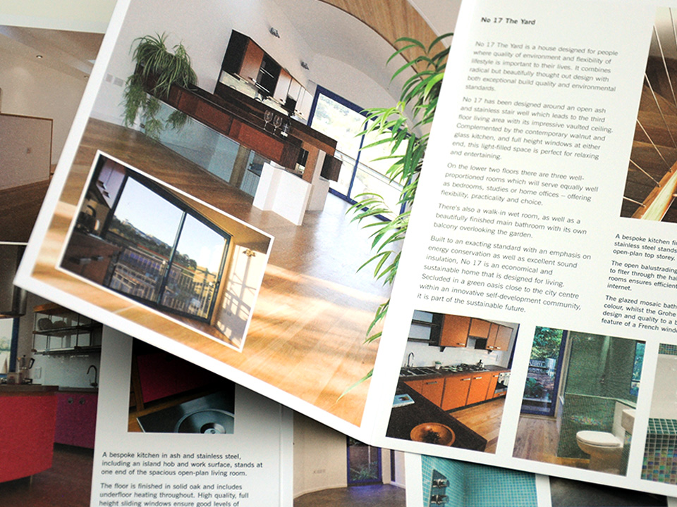 Marketing and sales brochures for sustainable homes