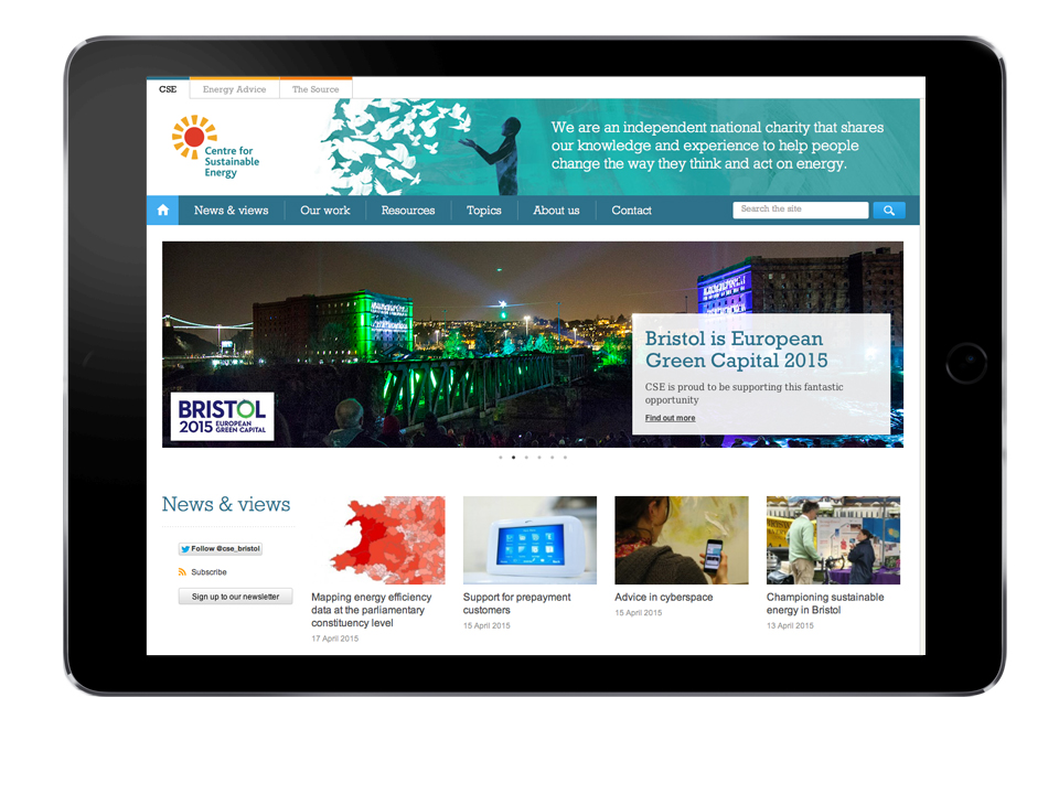 CSE logo, website homepage