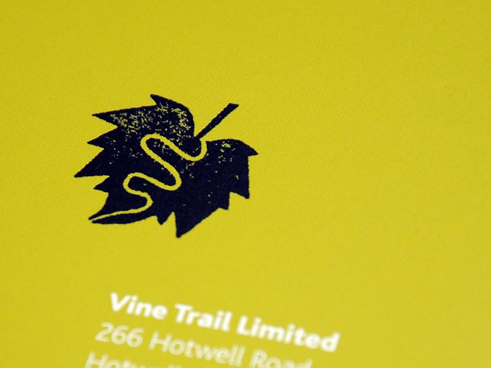 Vine Trail logotype back cover brochure