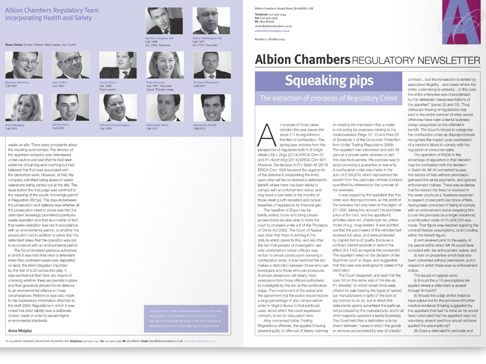 Albion Chambers newsletter