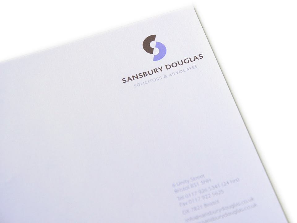 Sansbury Douglas letterhead & stationery design