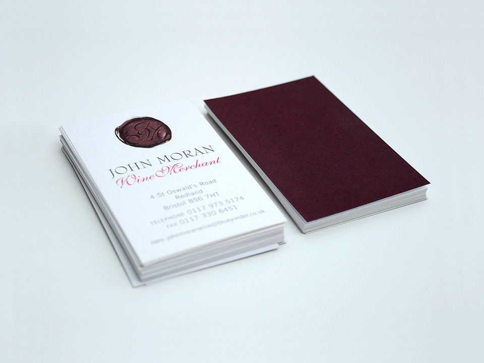 John Moran Wine Merchant business card